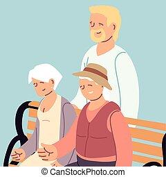 gezin, kaart, grootouders, dag, vrolijke