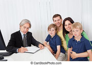 gezin, kantoor, zakelijk, adviseur