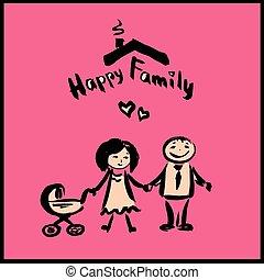 gezin, karakter, tekening, hand, spotprent, vrolijke