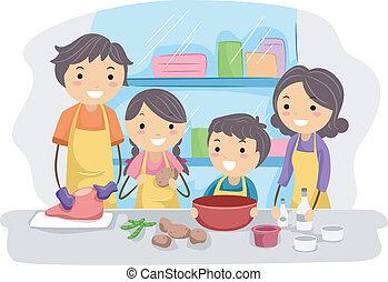 gezin, keuken
