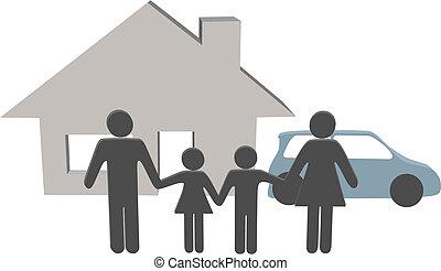 gezin, mensen, woning, symbolen, auto, thuis