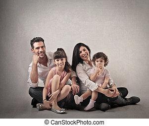 gezin, met, 2, geitjes