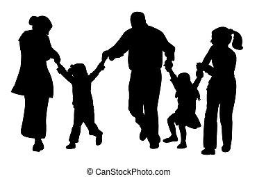 gezin, met, boompje, kinderen