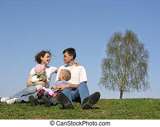 gezin, met, twee, children.