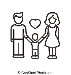 gezin, moderne, -, een, vector, ontwerp, kind, lijn, illustrative, pictogram
