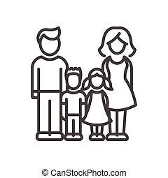 gezin, moderne, -, twee, vector, ontwerp, lijn, kinderen,...
