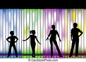 gezin, modeshow, op, kleurrijke, achtergrond