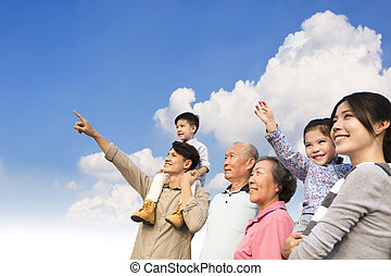 gezin, multi-generation, samen, buitenshuis, plezier, hebben