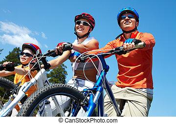 gezin, op, bicycles