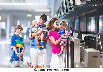 gezin, op, de, luchthaven