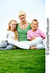 gezin, op, gras