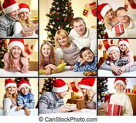 gezin, op, kerstmis