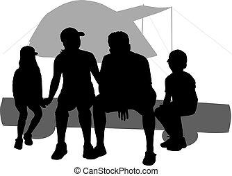 gezin, op vakantie, -, camping.