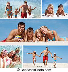 gezin, op, vakanties