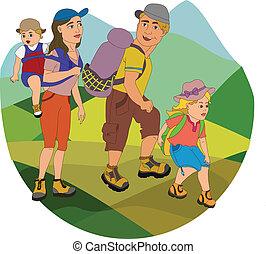 gezin, op, wandelen