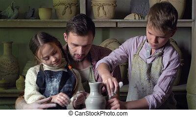 gezin, op, workshop