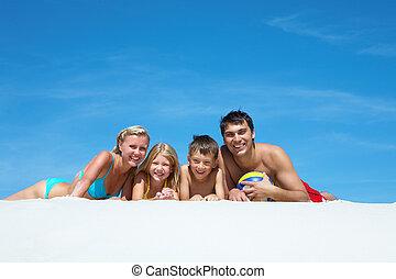 gezin, op, zand