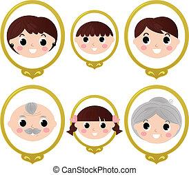 gezin, ouderwetse , vrijstaand, foto's, leden, witte