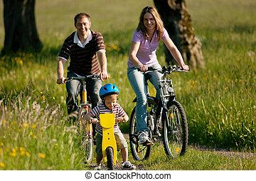 gezin, paardrijden, bicycles, in, zomer