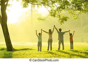 gezin, park, samen, spelend, aziaat, tijd, kwaliteit, hebben