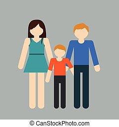 gezin, pictogram, beeld