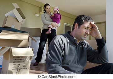 gezin, problemen, -, dakloos
