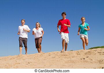 gezin, rennende , op, strand