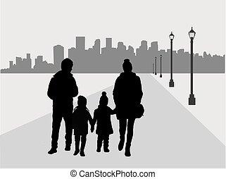 gezin, silhouette, stedelijke , achtergrond.