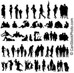 gezin, silhouettes