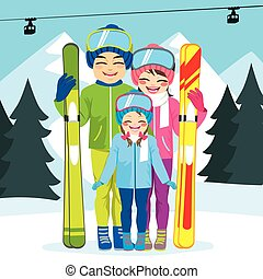 gezin, ski, winter vakantie