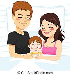 gezin, slapende, samen