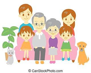 gezin, sofa, drie generatie, fami