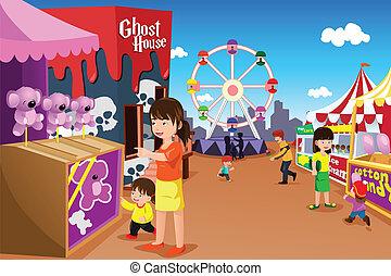 gezin, spelend, in, een, vermakelijkheid park