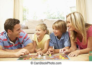 gezin, spelend, logeer spel, thuis