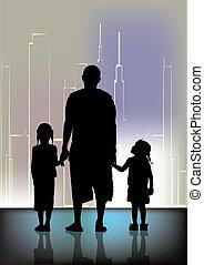 gezin, stad, vorm