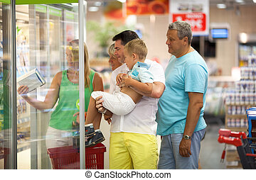 gezin, supermarkt