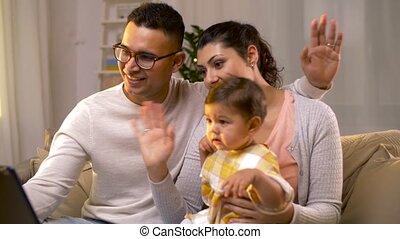 gezin, tablet pc, roepen, thuis video, hebben