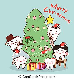 gezin, tand, kerstmis, vieren, spotprent