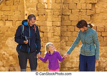 gezin, toeristen