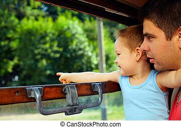 gezin, trein, avontuur, opwindende
