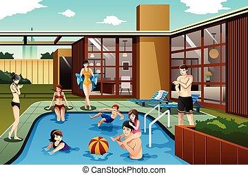 gezin, uitgeven, tijd, achterplaats, vrienden, pool, zwemmen
