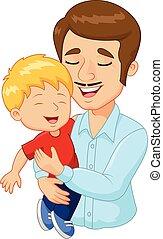 gezin, vader, spotprent, vasthouden, vrolijke