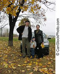 gezin, van, drie, en, auto