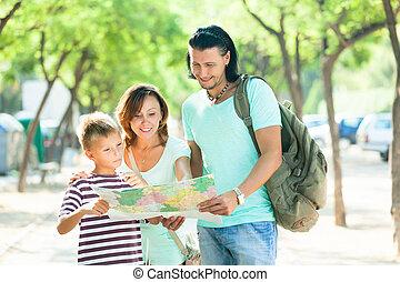 gezin, van, drie, grondig, weg, op, papier, kaart