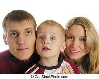 gezin, van, drie, vrijstaand