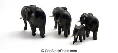 gezin, van, hout, olifanten