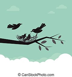 gezin, van, vogels, dat, zijn, voeren van de baby, illustration.