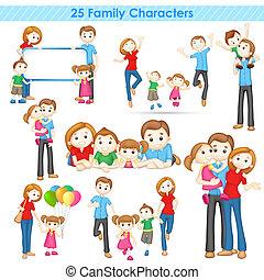 gezin, verzameling, 3d