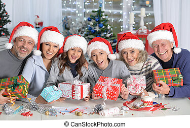 gezin, vieren, chrismas