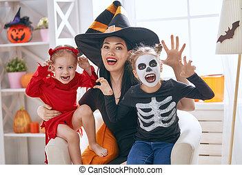 gezin, vieren, halloween